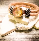 Snap Button Jewels™   Rhinestone   Gold   Champagne Gem   Flower Inlay