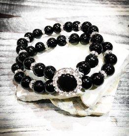 Bracelet | Black | Dual Beaded | Diamond Spacers | 1 Snap