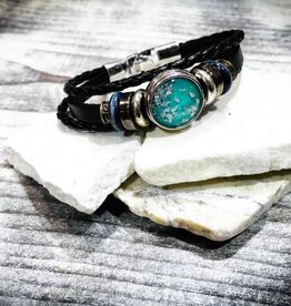 Bracelet | Black | Braided Leather | Silver Blue and Bronze Beads