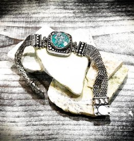Bracelet | Silver | Circle Details | 1 Snap