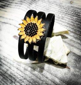 Bracelet | Black | Leather | 1 Snap