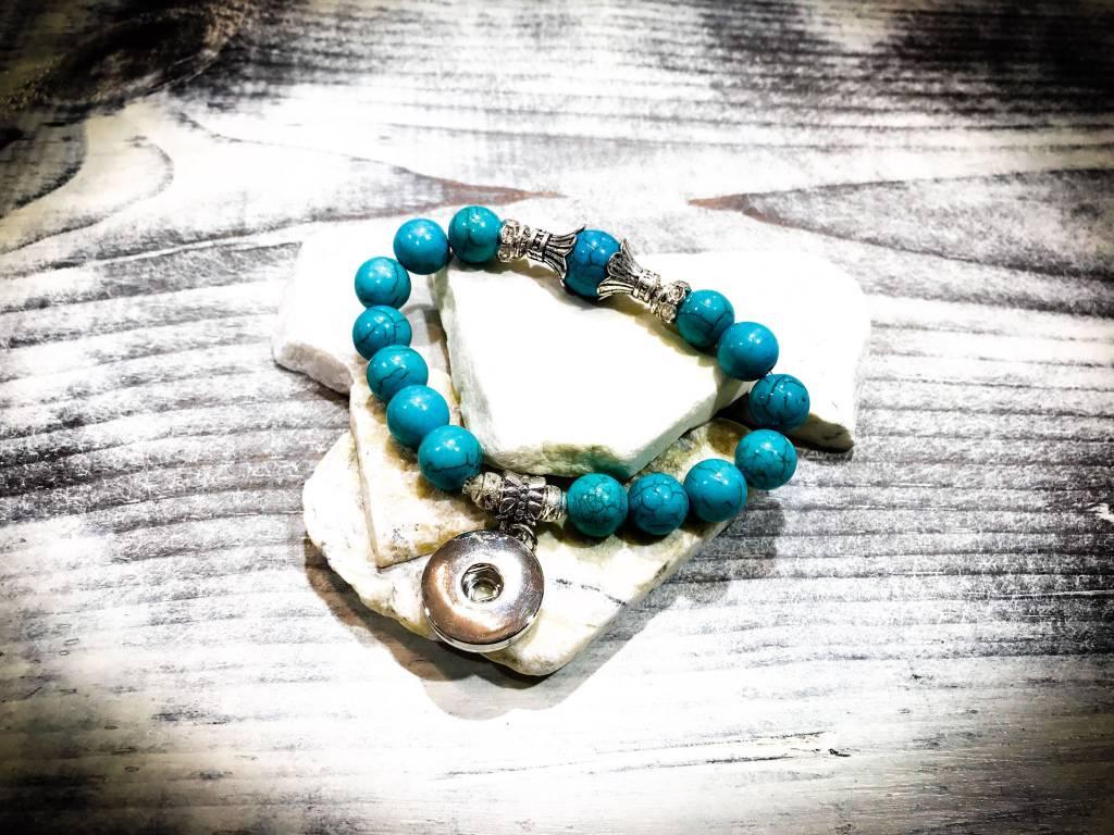 Bracelet   Blue   Beaded   1 Snap