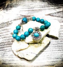 Bracelet | Blue | Beaded | 1 Snap
