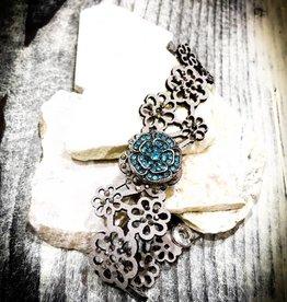 Bracelet | Silver | Flower Stamped | 1 Snap