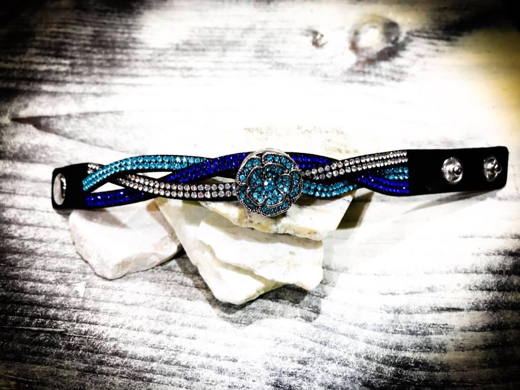 Bracelet   Blue   Hue Braided   1 Snap