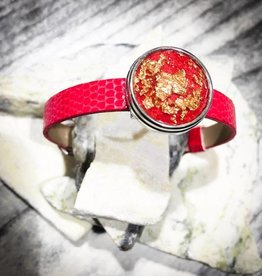 bracelet | red | croc leather | 1 Snap