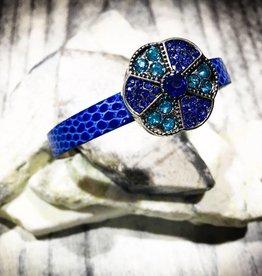 bracelet | dark blue | croc leather | 1 Snap