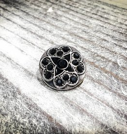 Snap Button Jewels™ | Rhinestone | Black | Flower