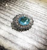 Snap Button Jewels™   Rhinestone   Silver   Turquoise Gem   Filigree Detail