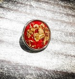 Snap Button Jewels™ | Fashion | Red | Gem | Gold Inlay