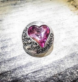 Snap Button Jewels™ | Silver | Love Between Mother Daughter | Purple Rhinestone | Heart
