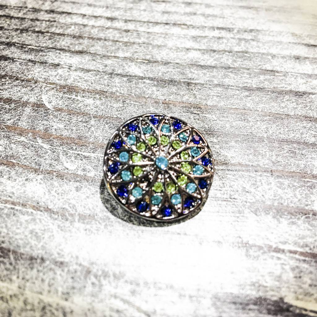 Snap Button Jewels™ | Rhinestone | Turquoise and Green | Flower Burst