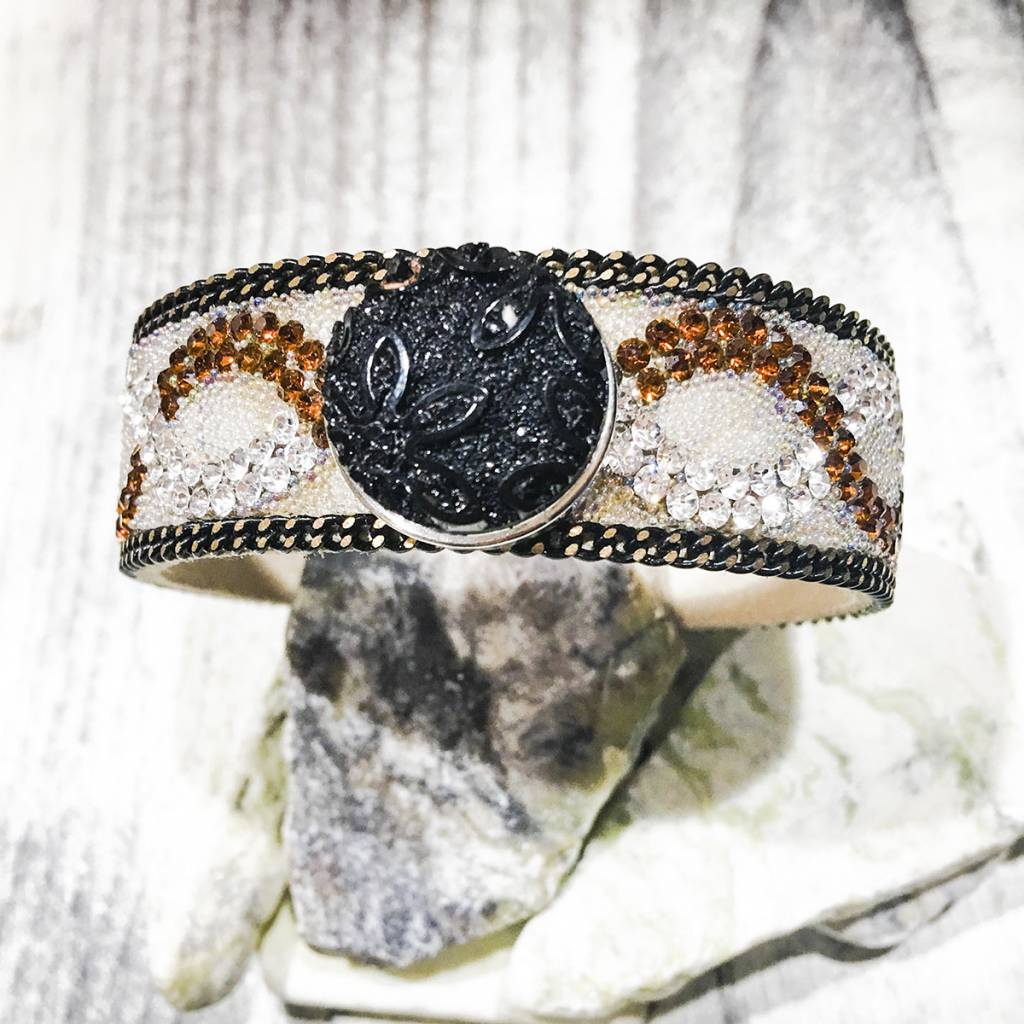 Snap Button Jewels™ | Fashion | Black | Sparkling | Flower Emboss