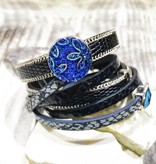 Snap Button Jewels™ | Fashion | Blue | Sparkling | Royal | Flower Emboss