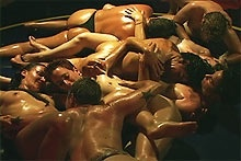 Erotic oil wrestling