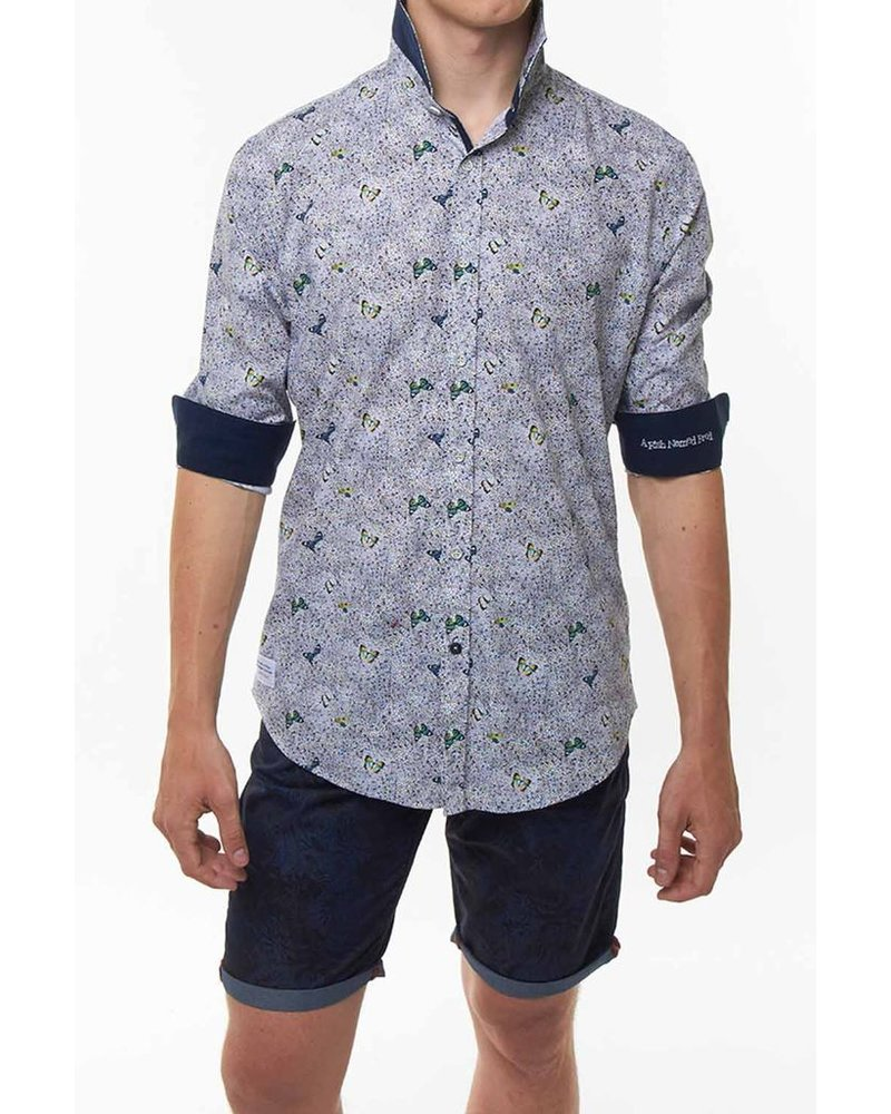 A FISH NAMED FRED A FISH NAMED FRED BUTTERFLY PATTERN SHIRT