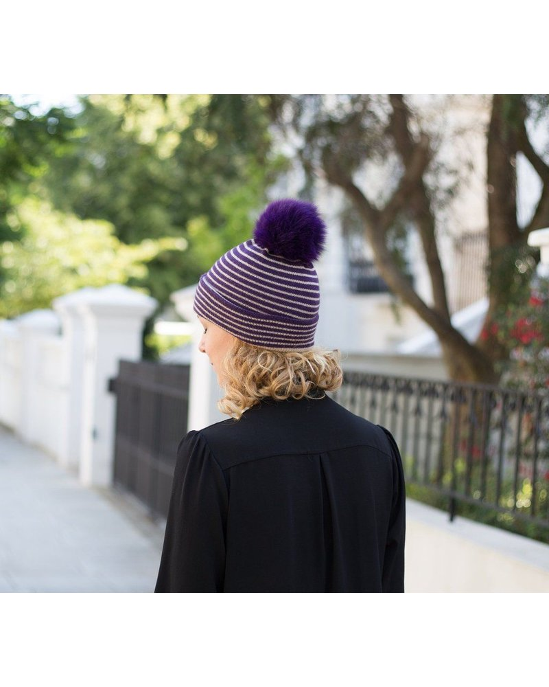 ROSE AND ROSE ROSE AND ROSE STRIPE KNIT HAT