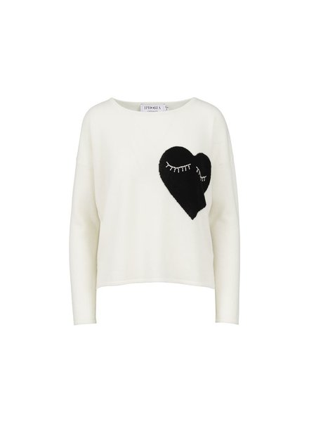 IPHORIA CASHMERE BOXY SWEATER- WHITE HEART