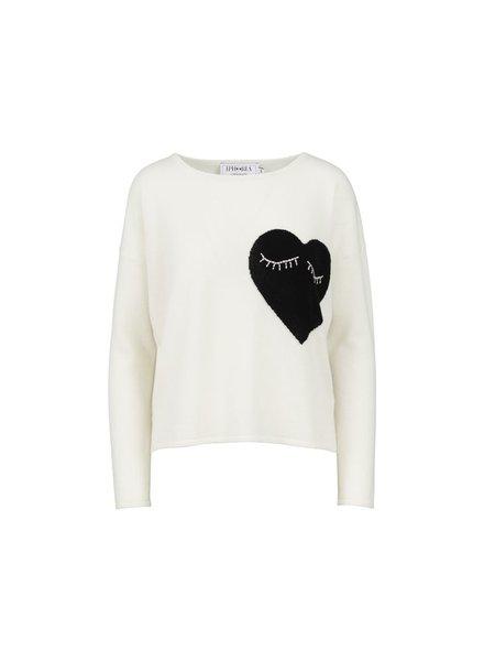 IPHORIA CASHMERE BOXY SWEATER- WHITE HEART