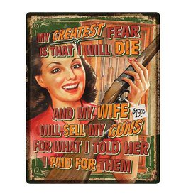 Rivers Edge Rivers Edge Tin Sign - Wife Will Sell Guns