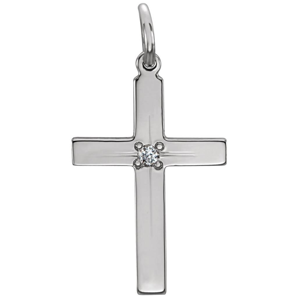 14K White 13x9mm Diamond Cross Pendant