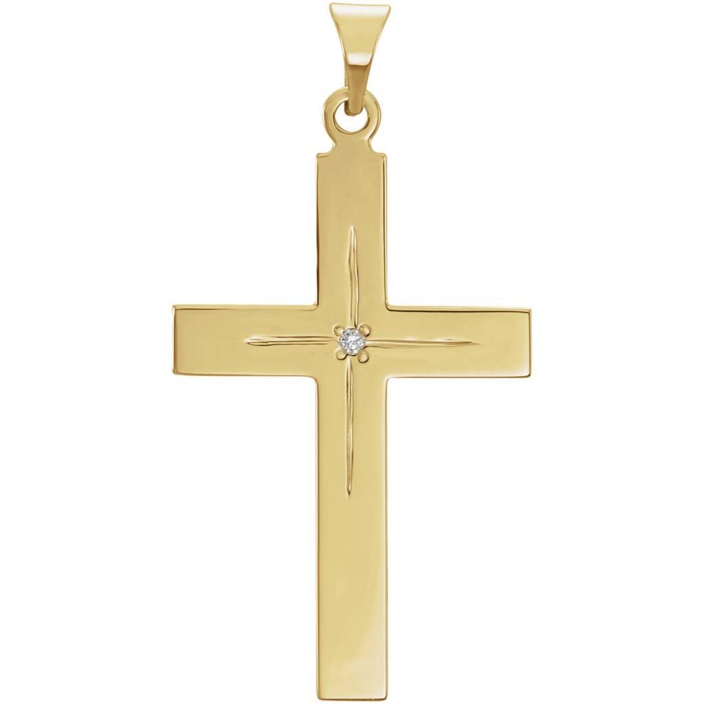 14K Yellow 13x9mm Diamond Cross Pendant