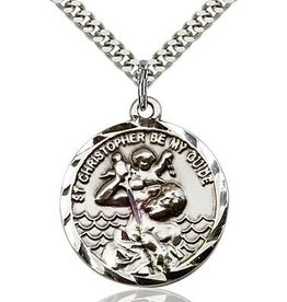 """Bliss Manufacturing Gold Filled St. Christopher Medal with 24"""" Chain"""
