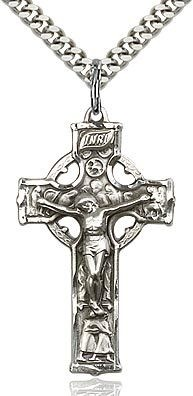 Bliss Manufacturing Sterling Silver Celtic Crucifix Pendant on a 24 inch Stainless Silver Heavy Curb Chain