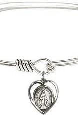 Miraculous Medal Bangle Bracelet Charm SS
