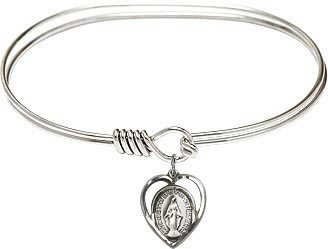 Bliss Manufacturing Bangle Bracelet with Sterling SIlver Miraculous Medal Charm