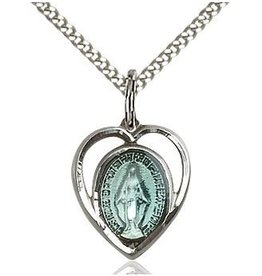 """Bliss Manufacturing Blue Miraculous Medal Sterling Silver Pendant Heart Charm With 18"""" Chain Necklace"""