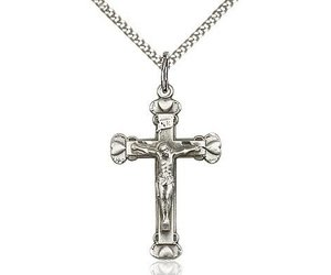 Sterling silver crucifix pendant on a 18 inch curb chain queen of sterling silver crucifix pendant on a 18 inch curb chain queen of angels catholic store aloadofball Images