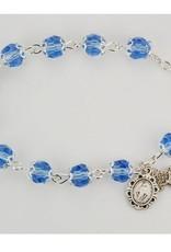 """7 1/2"""" CAPPED BLUE CRYSTAL BRACELET"""
