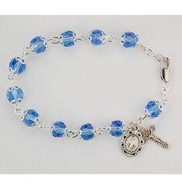 "McVan 7 1/2"" Capped Blue Crystal Bead Bracelet"