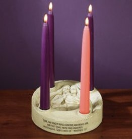 Holy Family Stone Advent Candleholder