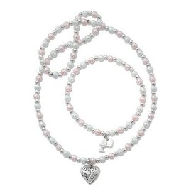 """16"""" Pink and White Pearl Heart Locket Necklace and Bracelet Set"""
