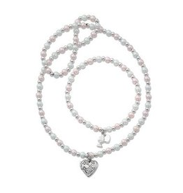"McVan 16"" Pink and White Pearl Heart Locket Necklace and Bracelet Set"
