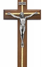 "McVan 10"" Beveled Walnut Crucifix with Brass Accents and Silver Corpus"