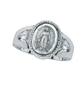 HMH Religious Sterling Silver Miraculous Medal Ring Size 8