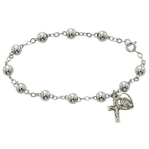 6MM Sterling Silver rosary Bracelet