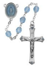 8MM Blue Glass Rosary