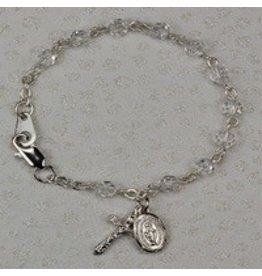 "McVan 5 1/2"" Sterling Silver Crystal Baby Bracelet"