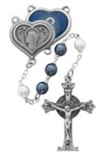 BLUE & WHITE PEARL ROSARY