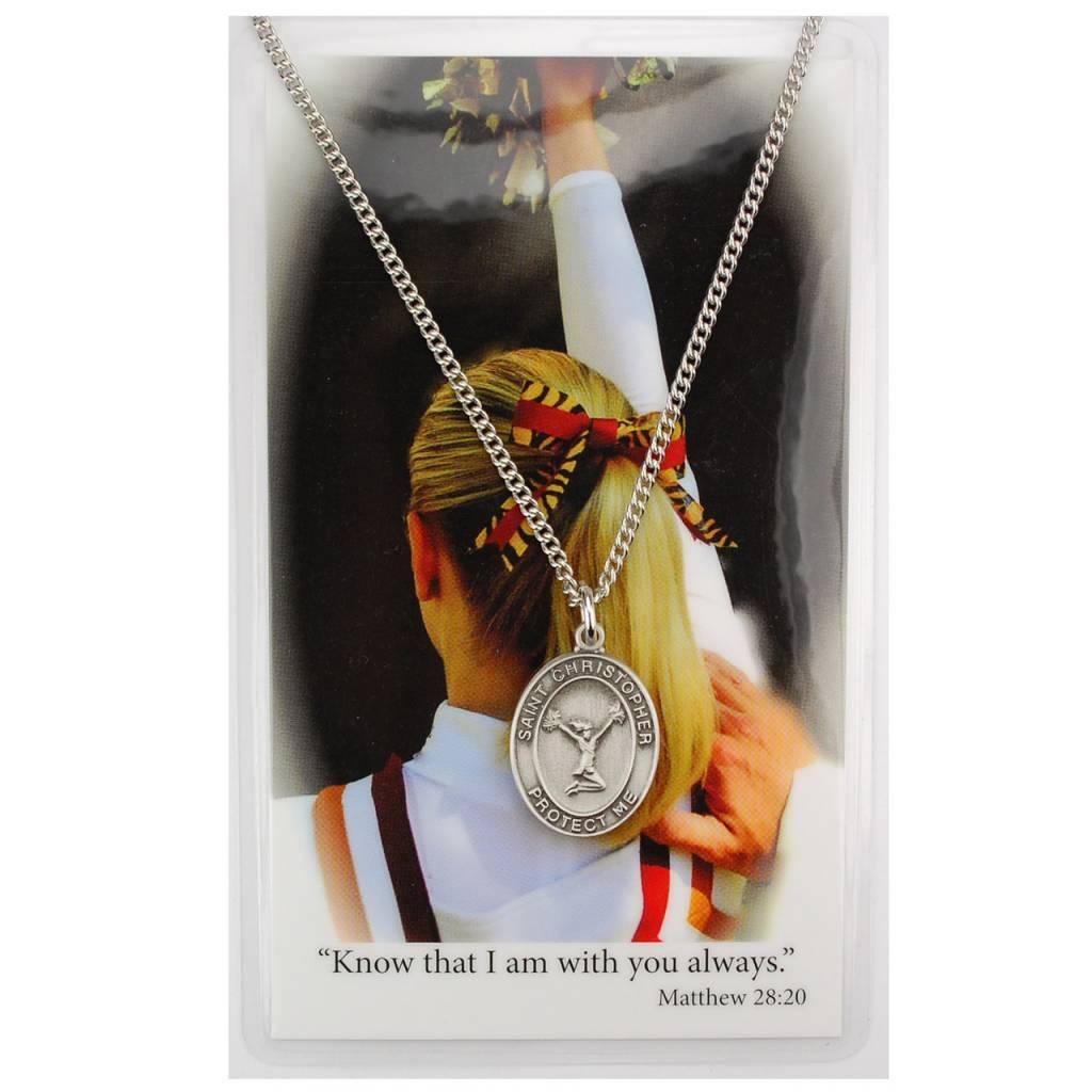 Girls Cheerleading Prayer Card Set with Medal