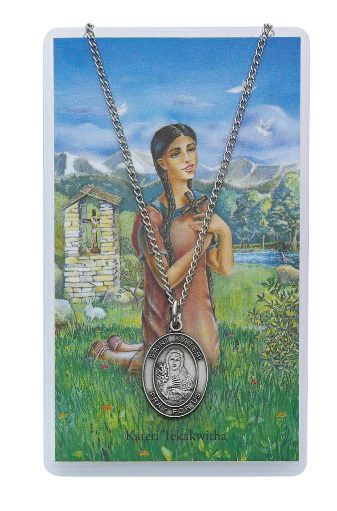 Liturgy Training Publications St. Kateri Prayer Card Set with Medal