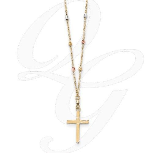 14k tri colored gold diamond cut beaded cross necklace queen of 14k tri colored gold diamond cut beaded cross necklace aloadofball Choice Image