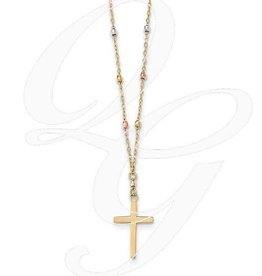 14K Tri Colored Gold Diamond Cut Beaded Cross Necklace