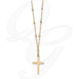 Stuller 14K Tri Colored Gold Diamond Cut Beaded Cross Necklace