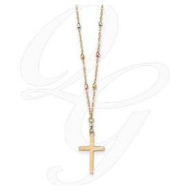 Stuller 14K Tri Colored Gold Diamond Cut Beaded Cross Necklace