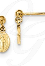 14k Miraculous Medal Dangle Post Earrings